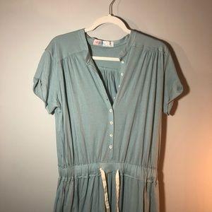 Free People Sea Green Maxi Drawstring Dress